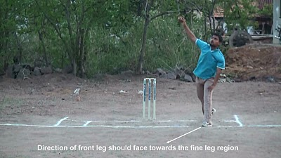 Leg break bowling - Position of front leg