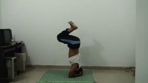 Fold your knees slowly fully Sirsasana