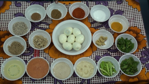 Boiled Egg Masala Curry - Making - Ingredients